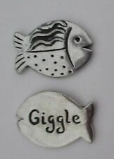 m Giggle fish spirit HANDCRAFTED PEWTER POCKET TOKEN CHARM basic coin