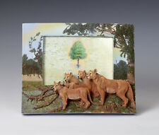 """Picture Frame, Lion, Hand Painted 3D, Holds 4 x 6""""  Felt Back, Stand or Hand"""