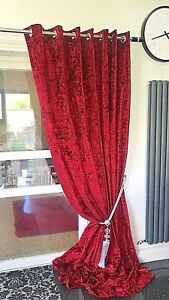 Crushed Velvet Curtains Eyelet Ring Top thick Ready Made long BLACKOUT WINE RED