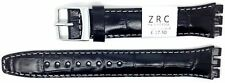 New ZRC 17mm (20mm) Leather Watch Strap Compatible for Swatch® Black ZL6431791