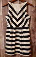 Ann Taylor Loft Black White Chevron Stripe Fit Flare Dress Casual Career Sz 10