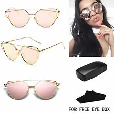 Women Mirrored Lenses Designer Sports Retro Vintage Cat Eye Oversized Sunglasses
