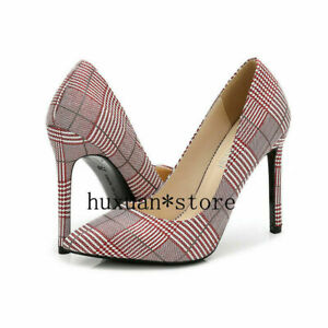 Men's Heels Crossdresser Stiletto Shoes Check Pattern Plaided Pumps Drag Queen