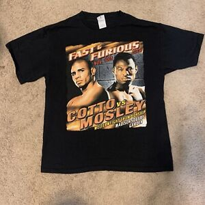 Miguel Cotto Shane Mosley Boxing T Shirt MSG NYC NY Large 2007 Pro Delta