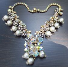 Vtg Juliana Necklace AB Rhinestones Silver Tone Beads Crystals Dangles & Festoon