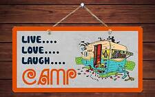"509HS Mountains Live Love Laugh Camp 5""x10"" Aluminum Hanging Novelty Sign"