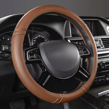 Universal Steering Wheel Covers Faux Leather Brown Fashion Non-slip for SUV VAN