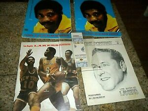 5 LOT 1973 1974 Los Angeles Lakers Illustrated Sport Sketches & GAME FULL TICKET