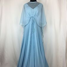 Vintage Baby Blue Formal Gown Maxi Dress Cape Sleeve Accordion Pleat Skirt