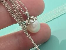 Tiffany & Co Sterling Silver Pearl Heart Cap Drop Pendant Necklace 16.5in 19093A