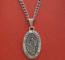 St Jude Necklace Stainless steel chain Patron Saint Protect Us Medal Thaddeus