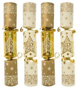 Paquet en Vrac Catering Large Noël Crackers Boîte De 50 Luxe Crème & Or