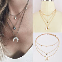 Multilayer Crystal Women Star Moon Pendant Gold Chain Choker Necklace Jewelry