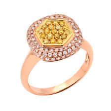 Real 0.86ct Natural Fancy Yellow & Pink Diamonds Engagement Ring 18K Solid Gold