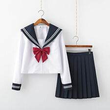 White JK Uniform Japanese Sailor Suit Long Short Sleeve Student School Uniform