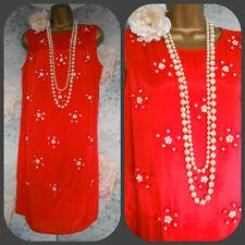 red m & co bead daisy shift bead pearl dress 12 14 eu 40 new