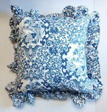 Ralph Lauren Tamarind Blue White Ruffle Throw Down Pillow 18 inch Floral Birds