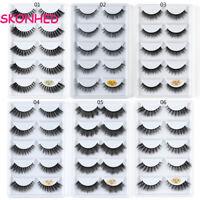 SK 5 Pairs 3D Mink Hair False Eyelashes Wispy Fluffy Long Thick Lashes Beauty