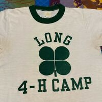 Vintage 80s Long 4 H Camp Ringer T Shirt Adult XS White Green Clover Summer Camp