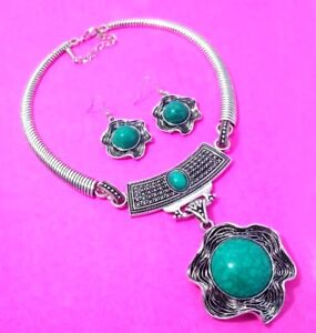 """Turquoise 925 Sterling Silver Plated Necklace & Earrings Set 20 """"Inch NB112"""