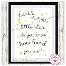 """""""Twinkle Twinkle Little Star? sabe usted cómo se te amaba?"""" Decoración del cuarto de niños impresión"""