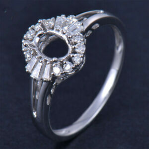 Oval Cut 4x6MM Platinum Natural Diamond Engagement Semi Mount Women Ring Setting