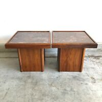 Pair Of Mid Century Modern John Keal For Brown Saltman Walnut End / Side Tables