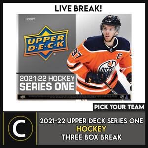 2021-22 UPPER DECK SERIES 1 HOCKEY 3 BOX BREAK #H1287 - PICK YOUR TEAM -