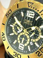 Invicta Men's Watch 20285 Sea Spider Quartz Chronograph Gold Black Dial Rubber