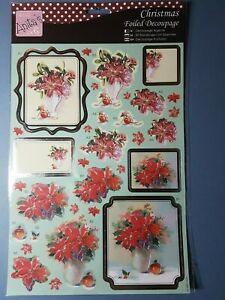 Christmas Craft Decoupage Pre-cut Foiled Sheet Red Poinsettia Vase 2 designs