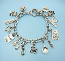 Cooking / Baking Charm Bracelet Silver Tone Gift for Chef Baker Cook