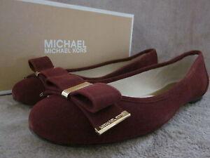 MICHAEL KORS 40T3DPFP1S Womens Kiera Ballet Slipper Suede Red Shoes 8.5 M NWB