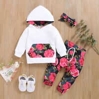 Newborn Baby Girls Outfits Hoodies Tops Pants Headband Set Floral Infant Clothes