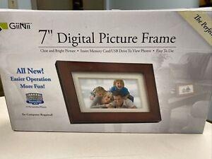 Giinii 7″ Digital Picture Frames BROWN GP7AWP New.
