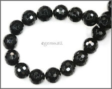 """15.2"""" Black Onyx Faceted Round Beads 10mm #58058"""