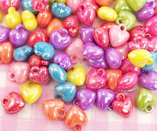 50 x Pearlised Kawaii 3D Heart Shaped Colourful Plastic Beads Jewellery Making