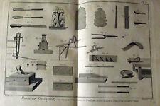 ANCIENNE GRAVURES XVIII MENUISIER TREILLAGEUR, CONSTRUCTION D'ORNEMENT DE TREIL