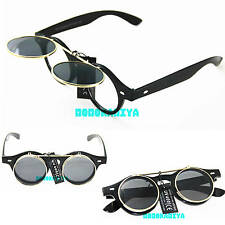 STEAMPUNK BLACK GOGGLES FLIP UP SUNGLASSES TOP QUALITY RETRO VINTAGE MENS WOMENS