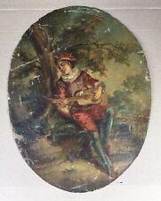 Tableau Ancien Huile Portrait Jeune Homme Musicien Luth Paysage XIXe A Restaurer