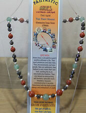 "ARIES  Hand-made 18"" Astrolgical Gemstone Necklace Plus FREE book and BOOKMARK"