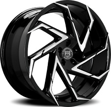 26 Lexani Cyclone Rims Black Wheels Fit Escalade Tahoe SIlverado GMC Sierra QX56