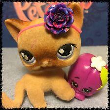 Littlest Pet Shop #318 Flocked Fuzzy Tan Brown Short Hair Cat Blue Eyes BLEMISH