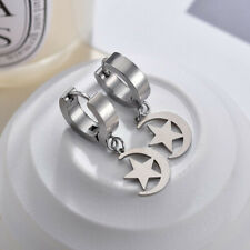Buckle Punk Stainless Steel Earring H02 Men'S Silver Star Moon Non Allergic Ear