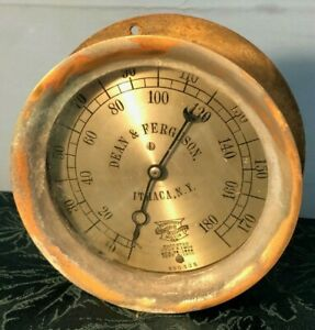"1908 Antique 7 1/4"" ITHACA, N.Y. DEAN & FERGUSON Large Brass Crosby Steam Gauge"