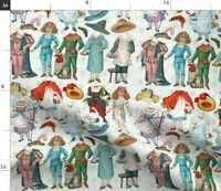 Vintage Paper Doll Nursery Decor Fairy Tales Fabric Printed by Spoonflower BTY