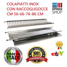 SCOLAPIATTI COLAPIATTI ACCIAIO INOX AD INCASSO 56 66 76 86 CM CON RACCOGLI GOCCE