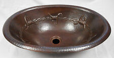 "19"" Oval Drop In Copper Bathroom Sink with Barbed Wire"
