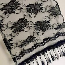 Beautiful Shawl Scarf Cover Wrap Flowers Black Wedding Gift Lace
