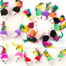 10Pcs Colorful Feather Fur False Mouse Pet Kitten Cat Toy Mini Funny Playing Toy