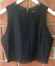 Abercrombie Fitch Womens Sz L Large Sleeveless Lace Crop Top Black